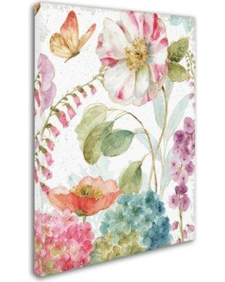 """East Urban Home 'Rainbow Seeds Flowers II Crop on Wood Cream' Print on Wrapped Canvas EBHV2599 Size: 24"""" H x 18"""" W x 2"""" D"""