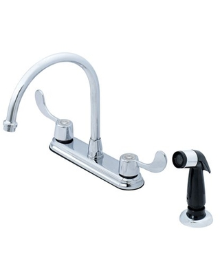 OakBrook Utility Coastal Two Handle Kitchen Faucet with Side Sprayer, Chrome