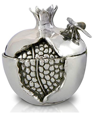 Sterling silver Pomegranate Honey Dish with fancy Spoon & Glass bowl