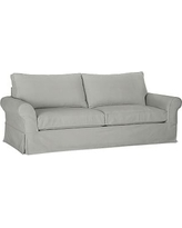 PB Comfort Slipcovered Sofa, Box Cushion, Down-Blend Wrap Cushions, Everydaysuede Metal Gray