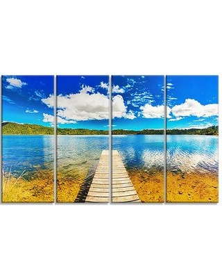 Design Art Lake with Pier Panorama 4 Piece Photographic Art on Wrapped Canvas Set PT6782-271