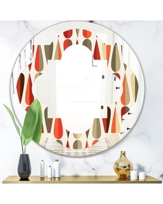 Designart 'Retro Abstract Drops IV' Modern Round or Oval Wall Mirror - Quatrefoil - Multi (Round - 24 in. wide x 24 in. high)