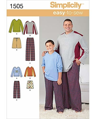 Simplicity Patterns Simplicity 1505 Easy to Sew Husky Boy's and Big and  Tall Men's Pajama Sewing Patterns, Child's Sizes S-L and Men's Sizes  XL-XXXXXL