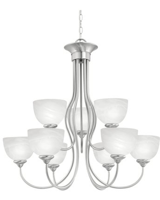 Clara 9-Light Shaded Tiered Chandelier Charlton Home® Finish: Brushed Nickel