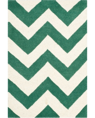 2'X3' Chevron Tufted Accent Rug Teal/Ivory (Blue/Ivory) - Safavieh