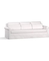 """York Roll Arm Slipcovered Deep Seat Grand Sofa 98"""" with Bench Cushion, Down Blend Wrapped Cushions, Twill White"""