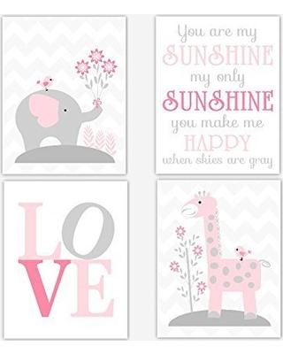 Cadenrosscanvas Baby Nursery Decor Canvas Wall Art Elephants You Are My Sunshine Pink Set Of 4 From Paing