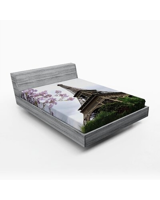 Eiffel Tower Fitted Sheet East Urban Home Size: Queen