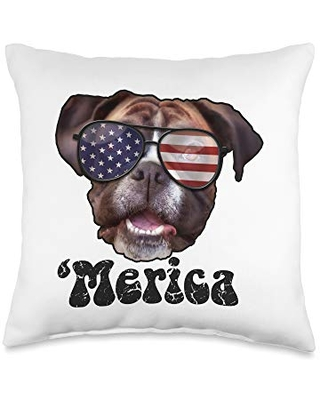 USA & 4th of July Dog Lover Gifts by Art Like Wow Dog Boxer American Flag Sunglasses, 4th Of July 'Merica USA Throw Pillow, 16x16, Multicolor