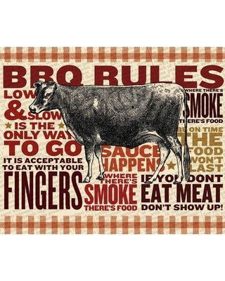 """Marmont Hill 'Bbq Rules' Painting Print on Wrapped Canvas MH-FMKIT-100-C- Size: 24"""" H x 29"""" W"""