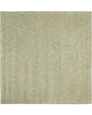 Bloomsbury Market Tatyana Hand-Tufted Wool Soft Light Blue/Ivory Area Rug BLMT1853 Rug Size: Square 6'