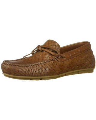 Aquatalia Men's Brian LGE Woven EMBOS CLF Driving Style Loafer, Cognac, 7 M US