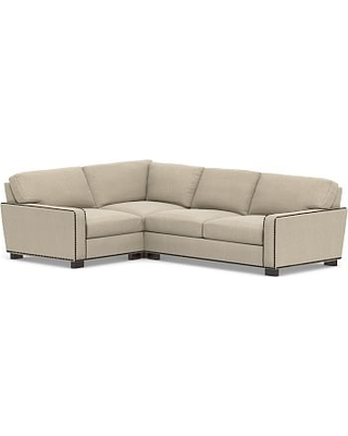 Turner Square Arm Upholstered Right Arm 3-Piece Corner Sectional with Bronze Nailheads, Down Blend Wrapped Cushions, Sunbrella(R) Performance Chenille Cloud