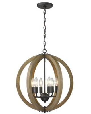 Musab 6 - Light Candle Style Globe Chandelier with Wood Accents