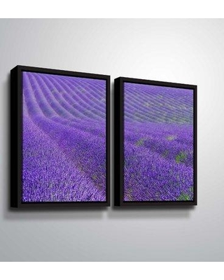 """Winston Porter 'Lavender Rows' Photographic Print Multi-Piece Image on Canvas BF207804 Size: 32"""" H x 48"""" W x 2"""" D Format: Floater Framed"""