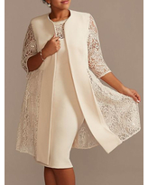 Milanoo Ivory Mother Dress Lace Satin Fabric Half Sleeves Overcoat Jewel Neck Sleeveless Sheath Short Wedding Guest Dresses Outfit