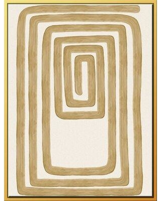 """Mercer41 'Golden Rope I' Framed Graphic Art on Canvas W000869392 Size: 47.75"""" H x 27.75"""" W x 1.5"""" D"""