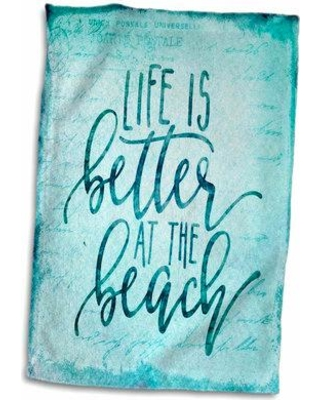 East Urban Home Life Is Better at the Beach Typography Art Hand Tea Towel W000338423