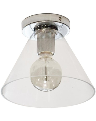 Dainolite Roswell 7.3 in. H 1-Light Polished Chrome Flush Mount with Glass Shades