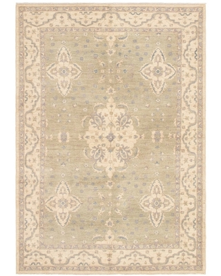 Hand-knotted Peshawar Oushak Green Wool Rug - 6'5 x 9'1