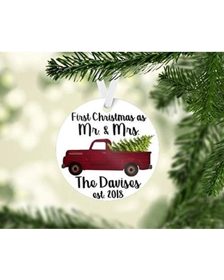 Personalized First Married Christmas Keepsake Ornament 2018