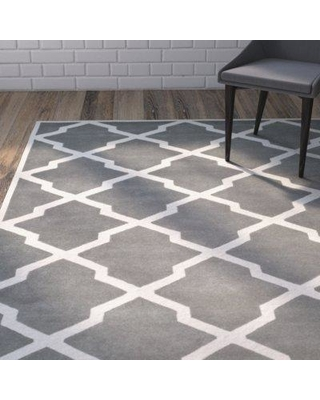 Wrought Studio Wilkin Hand-Tufted Wool Dark Gray/Ivory Area Rug VKGL5221 Rug Size: Rectangle 10' x 14'