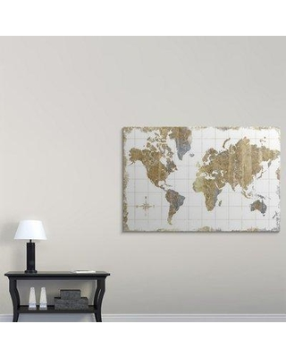 """Great Big Canvas 'Gilded Map' Graphic Art Print 2335837_1 Size: 40"""" H x 60"""" W x 1.5"""" D Format: Canvas"""