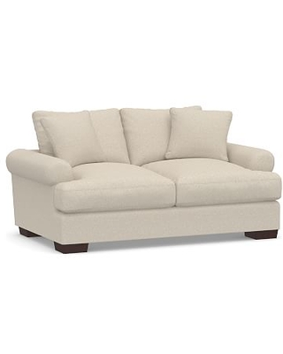 "Sullivan Deep Roll Arm Upholstered Loveseat 74"", Down Blend Wrapped Cushions, Textured Twill Khaki"