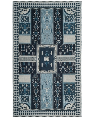 "Navy/Light Blue Floral Loomed Area Rug 6'7""X9'2"" - Safavieh, Blue/Light Blue"