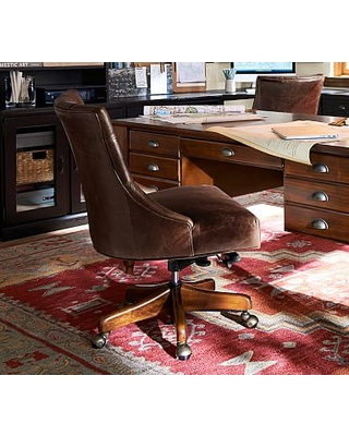 Outstanding Hayes Leather Tufted Swivel Desk Chair With Gray Wash Frame Vintage Cocoa Ocoug Best Dining Table And Chair Ideas Images Ocougorg