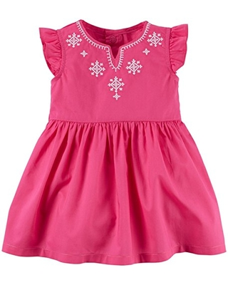 Carter's Baby Girl Dress Pink with White Embro, 24 Months
