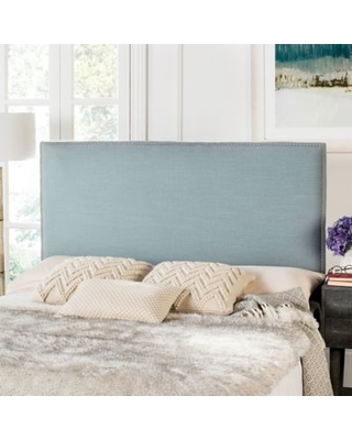 Sales For Safavieh Sydney Queen Upholstered Headboard In Sky Blue With Brass Nailhead Trim