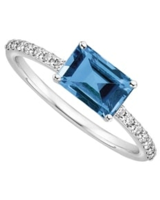 Sterling Silver with Natural London Blue Topaz and White Topaz Ring (8)