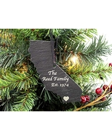 Custom California Black Slate Christmas Ornament- Personalized with Laser Engraving