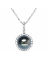 """Cultured Tahitian Pearl (9mm) & Diamond (1/5 ct. t.w.) 18"""" Pendant Necklace in 14k White Gold - White Gold"""