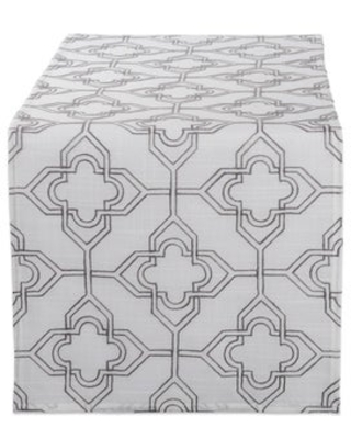 DII Embroidered Table Runner (Lattice on Off White Base)