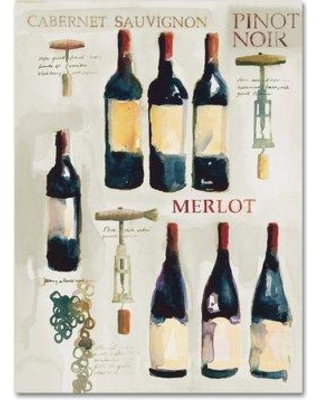 """Trademark Art 'Red Wine Collage on White' Print on Wrapped Canvas WAP01424-C Size: 32"""" H x 24"""" W"""