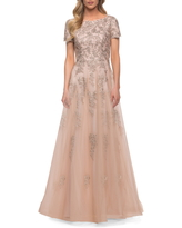La Femme Lace & Tulle A-Line Gown, Size 6 in Nude at Nordstrom