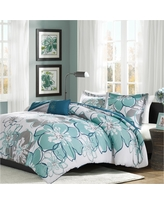 Blue & Grey Kelly Printed Comforter Set (Twin/Twin XL)