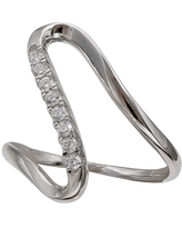 Women's Polished and Pave Cubic Zirconia Ring in Sterling Silver -Silver/Clear (8)