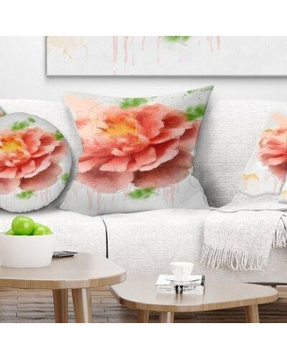 "East Urban Home Floral Rose Sketch Watercolor Pillow FUSI4160 Size: 18"" x 18"" Product Type: Throw Pillow"