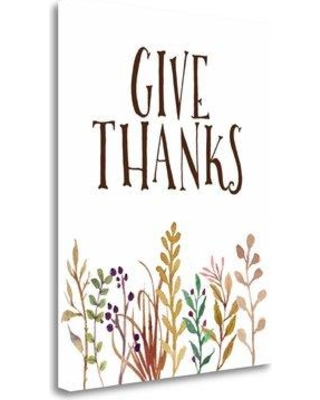 """Tangletown Fine Art 'Give Thanks' Textual Art on Wrapped Canvas SBTA1214-1620c Size: 20"""" H x 16"""" W"""