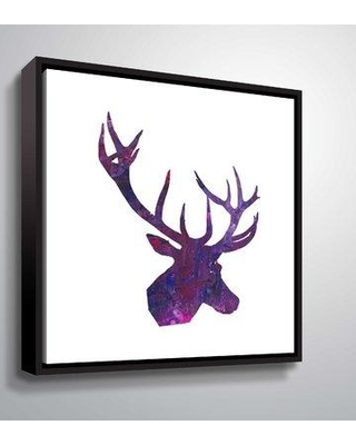 """Wrought Studio 'Reindeer 3' Graphic Art Print on Wrapped Canvas BF044266 Size: 14"""" H x 14"""" W x 2"""" D Format: Floater Frame"""