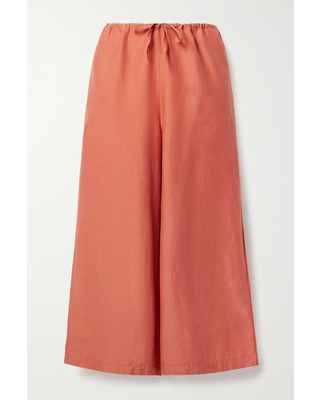 SKIN - + Net Sustain Cropped Organic Cotton And Silk-blend Voile Pants - Orange