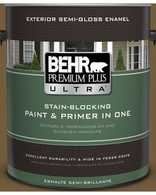 BEHR ULTRA 1 gal. #300F-7 Centaur Semi-Gloss Enamel Exterior Paint and Primer in One