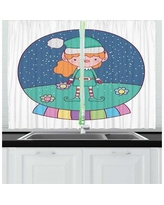 East Urban Home 2 Piece Elf Girl in a Colorful Snow Globe w/ Flowers Holiday Time Spirit Kitchen Curtain Set, Polyester in Orange/Green | Wayfair