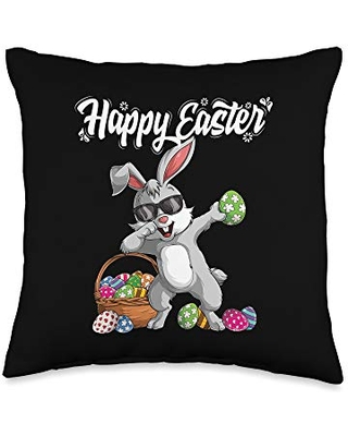 Dabbing Rabbit Easter Day bunny easter Rabbit Easter Day Eggs Dab Boys Girls Kid Gift Bunny Throw Pillow, 16x16, Multicolor