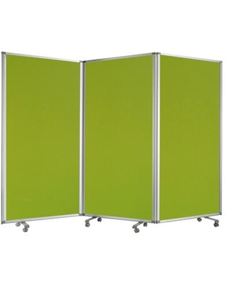 BM205791 Accordion Style Fabric Upholstered 3 Panel Room Divider Green and