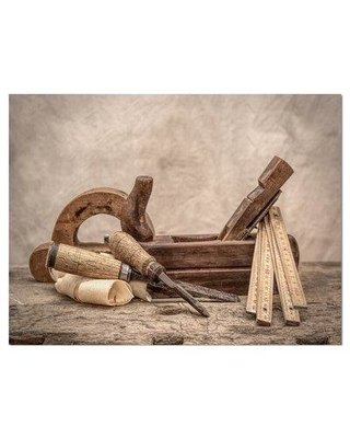 """Williston Forge 'Vintage Woodworking Chisel Tools' Graphic Art Print on Wrapped Canvas W000860214 Size: 30"""" H x 40"""" W 1.5"""" D"""