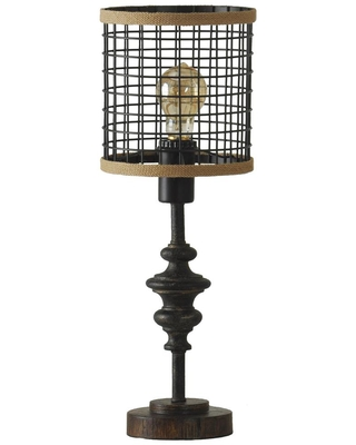 StyleCraft 20 in. Black Table Lamp with Black Metal Shade